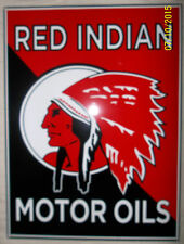Very Nice Red Indian Oil Sign, Heavy Steel, Brilliant Color and Great Graphics