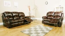 STUDIO 2 AND 3 SEAT RECLINER SOFA SET BROWN LEATHER AIR WITH STUD DETAILING