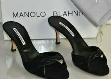 $845 NEW Manolo Blahnik MONET Black Suede Slides Sandals Mules Heels Shoes 39