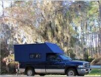 """*Postcard-""""Truck with Camper"""" -Trailer- ...in Forest Park--  --CLASSIC--"""