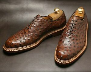 Handmade men brown textured ostrich leather formal dress shoes,office wear shoes