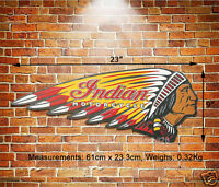 INDIAN Motorcycle Chief LOGO Embossed Metal Sign USA Wall Decor Garage Display