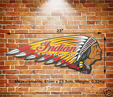 INDIAN Motorcycle Chief LOGO Embossed Metal Sign USA Wall Decor Garage Advert