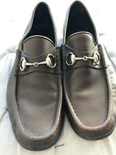 Gucci Brown Leather Loafers size 43 uk 9 silver horse bit