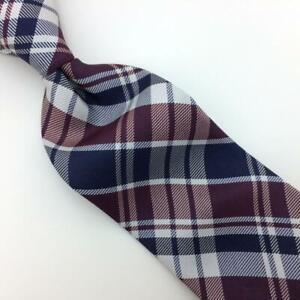 Tommy Hilfiger Tie Plaid Navy/Brown/White Silk Necktie Woven Skinny I18-550 New