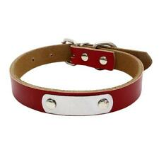 Personalised Leather Dog Collars Engraved Cat Pet ID Name Tags Custom Free XS-L