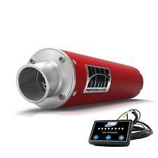 HMF Performance Slip On Exhaust Muffler Red + EFI Optimizer Yamaha Grizzly 700
