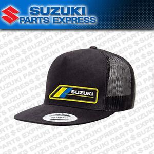 NEW TEAM SUZUKI MX Moto Motocross HAT Black Snap-Back Trucker Hat 990A0-17161