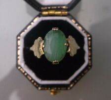 Women's 9ct Gold JADE Solitaire Ring Weight 1.9g Size L 1/2 Quality Ring Stamped