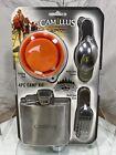 Camillus 4pc camp kit multi tool spoon, multi tool fork, 5 oz flask, folding cup