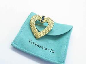Tiffany & Co 18Kt Gem Blue Sapphire Yellow Gold Heart Pin / Brooch .50Ct