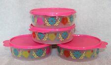 Tupperware 4 FLOWER FIESTA BIG WONDERS SALAD BOWLS w/Pink Seals ~ Snacks ~ NEW!
