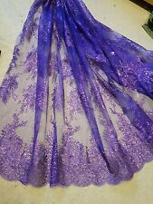 """1m purple lace Embroidery sequin  Fabric scalloped  Floral  lace Wedding 52 """""""