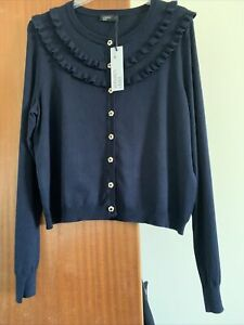 CARDIGAN 16. NAVY. NOBODY'S CHILD. NEW WITH TAGS. LON G SLEEVES. GOLD BUTTONS.