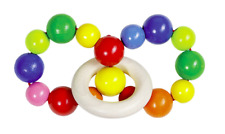 HEIMESS 734230 Wooden Rainbow ELASTIC TOUCH RING RATTLE for Baby/Toddler NEW