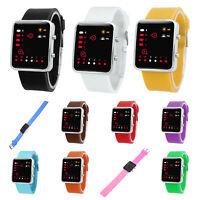 Unisex De mujer Reloj Hombre Silicona Digital Rojo LED Deportivo Binario pulsera