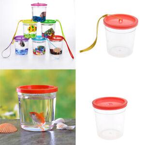 Plastic Mini Fish Tank Clear Cup w/ Lid F. Betta Jellyfish Portable Random Color