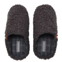 Official DUNLOP UK Mens 9 or 10 Faux Fur Fair Isle upper Slip on Slippers NEW
