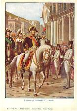 Stampa antica FERDINANDO IV di Borbone rientra a Napoli 1932 Old antique print