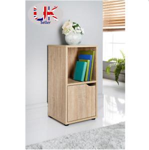 Oak 2 Cube Bookcase Shelving Unit 1 Door Display Cabinet Wood Furniture DAM BOX