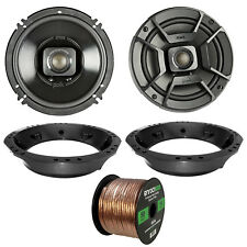 """2x Polk 6.5"""" 2-Way Black Marine Speakers, Adapter, 50 Ft Wire ('98-2013 Harley)"""
