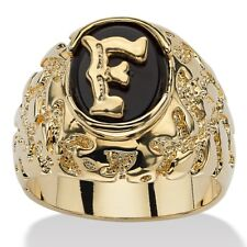 14K GOLD ONYX LETTER F INITIAL NUGGET RING SIZE GP 8 9 10 11 12 13