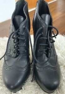 BCBG Boots US 9.5 Platform Ankle Oxford Lace Up Shoes Chunky Heel Wicca Gothic