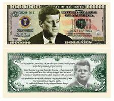 SET OF 100 BILLS-JOHN F. KENNEDY (JFK) COMMEMORATIVE MILLION DOLLAR BILL