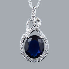 Brass Pendant Oval Cut Stone Blue Sapphire Free Necklace Chain White Gold Plated