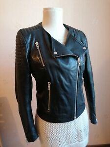 H&M Lederjacke Bikerjacke Leder schwarz Größe 38 / US 8