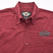 Mens Medium Harley Davidson Motorcycles Embroidered Striped Red/maroon Shirt