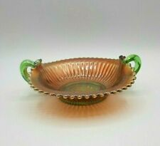 Vintage Green Northwood Carnival Glass Handled Bon Bon Smooth Rays Candy Dish