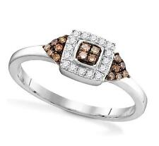Chocolate Brown & White Diamond Square Cluster Ring Band 10K White Gold .20ct