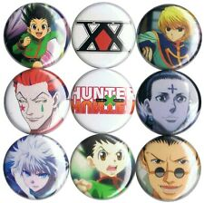 Hunter x Hunter 9 pins buttons anime Gon Hisoka Leorio Killua Kurapika logo