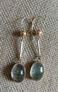 ❤️Vtg antique edwardian 12cts Natural aquamarine drop dangle solid gold earrings