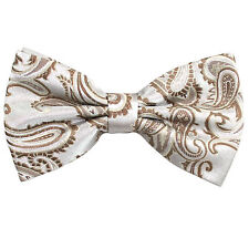 New Brand Q men's pre-tied bow tie paisley micro fiber formal light brown