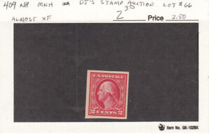 1912 MNH 2ct Red Geo Washington Imperforate #409 - MNH