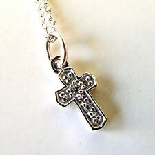 "Child's Kobelli ""LOVE""  .05 Ct Diamond 14K White Gold Cross Pendant Necklace"