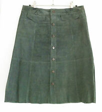 TOPSHOP skirt size 10 button front green suede A line knee length iconic