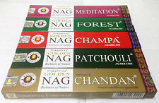 Golden Nag Champa Incense Sticks ALL 5 Forrest,Meditation,Patchouli,Chandan,Nag