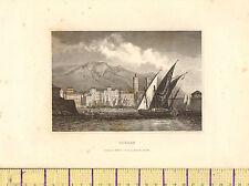 C1830 antique print ~ toulon ~ port bateaux