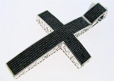 Mens White Gold Finish Real Black Diamond 3.5 Inch Cross Pendant Charm