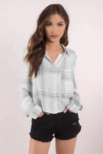 TOBI Street Style Amanda White Plaid Crop Shirt Sz L – NWOT$80