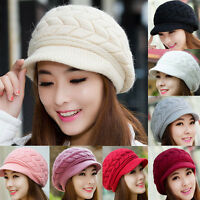 Hot Women Ladies Beret Winter Warm Baggy Beanie Knit Crochet Hat Slouch Ski Caps