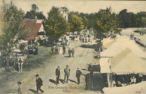 pc12230 postcard Montpelier Ohio Fair Grounds postally used 1909 RPO