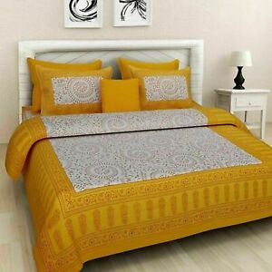 Pure Cotton Double Bed Sheet & Duvet Cover With 4 Pillow Covers Best For Gift rw