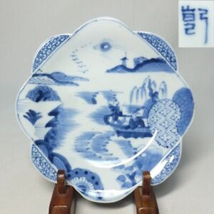 D0945: Japanese plate of old fine HIRADO blue-and-white porcelain of rare shape