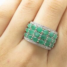 Signed 925 Sterling Silver 3-Row Emerald White Topaz Gem Wide Ring Size 8