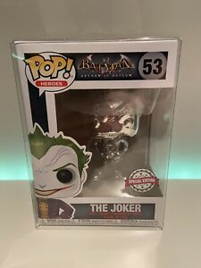 POP! Vinyl Batman The Joker #53 Special Edition Chrome Silver + POP Protector!