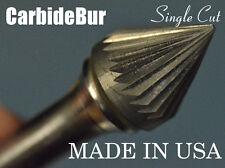 "New listing New Usa Carbide Burr Sj-5 Single Cut 1/4"" Cone 60 Degree Deburring Tool Bit"